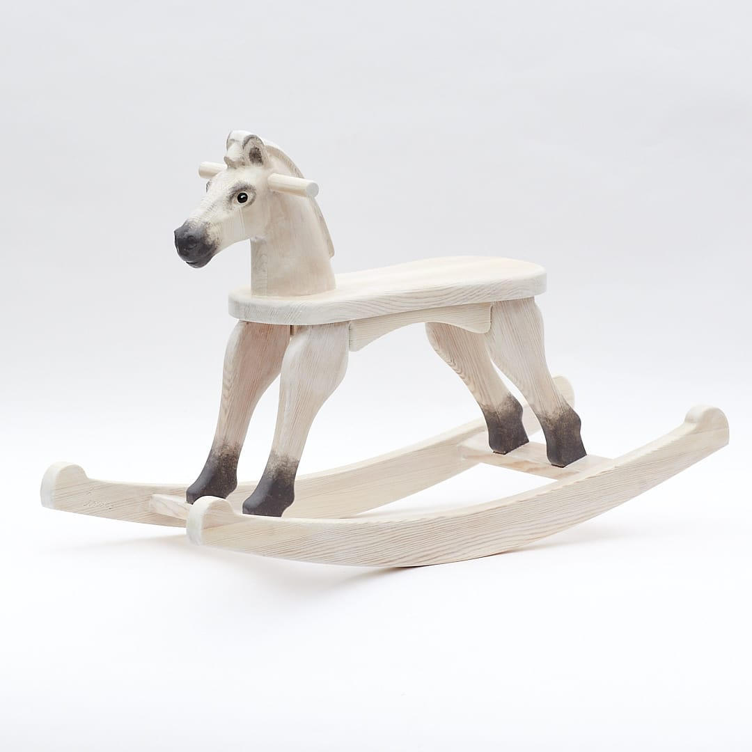 Cheval à Bascule en Bois Petite - Blanc