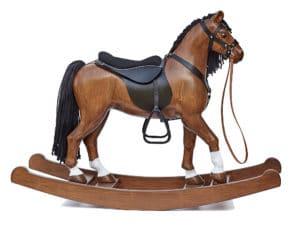 Cheval à bascule en bois grande equipé d'un harnais de cuir et d'une selle